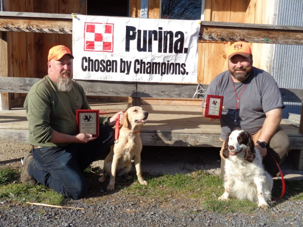 Adult Flushing Group: Pictured from Left to Right:1st place - Donnie Sine, with Lab - Lucy 2nd place - Not Pictured - Bruce Durham, with Eng. Cocker - Ichi 3rd place - Mark Robinson, with Springer – Daisy
