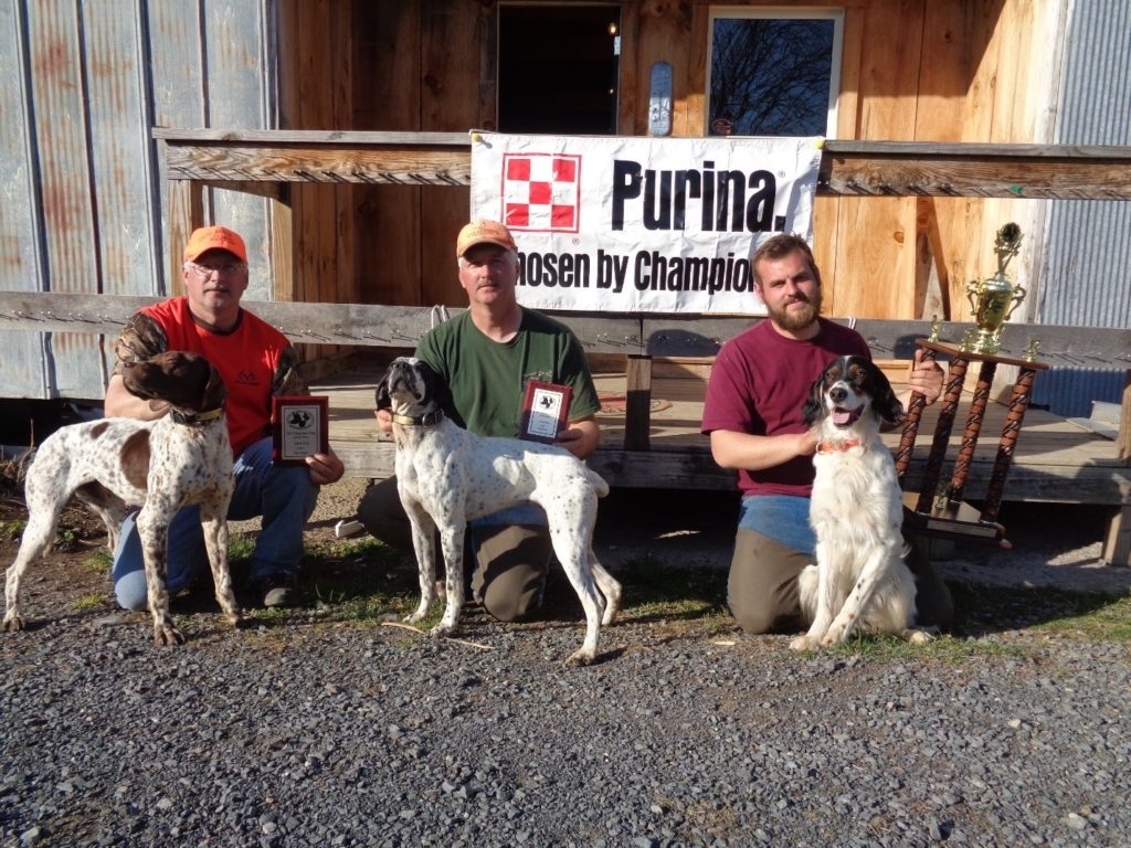 Adult Pointer Group: From Right to Left: MD Dog of the Year Winner Ryan Gerczak, with English Setter - Bandit 2nd Place - Brad Minnick, with English Pointer – Doc 3rd place – Mark Minnick with English Pointer Rio – handled and owned by Brad Minnick